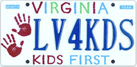 sample KIDS FIRST License plate.