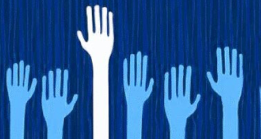 hands raised to volunteer